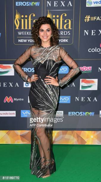 Indian Actress Taapsee Pannu arrives for the IIFA Awards July 15 2017 at the MetLife Stadium in East Rutherford New Jersey during the 18th...