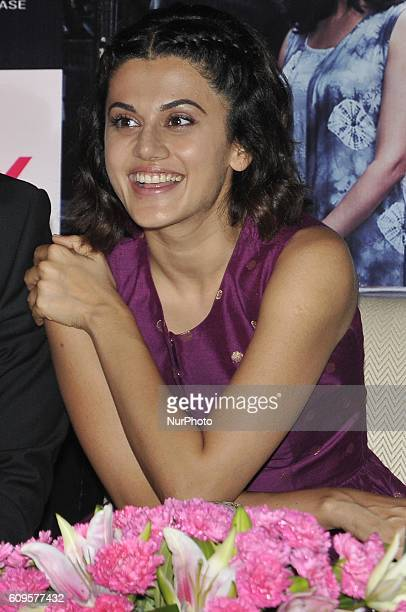 Indian Actress Taapsee Pannu during her New Film PINK promotion meet the press on September 212016 in Kolkata India
