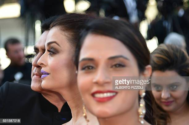 Indian actresses Aishwarya Rai and Richa Chadda pose as they arrive on May 15 2016 for the screening of the film 'Mal de Pierres ' at the 69th Cannes...