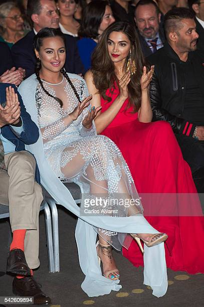 Indian actresses Sonakshi Sinha and Deepika Padukone attend the press conference for the 17th edition of IIFA Awards at the Palace Hotel on June 23...