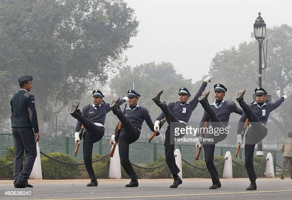 Indian Air Force contingent during the rehearsal for the Republic Day parade 2015 at Rajpath on December 18 2014 in New Delhi India A large crowd...