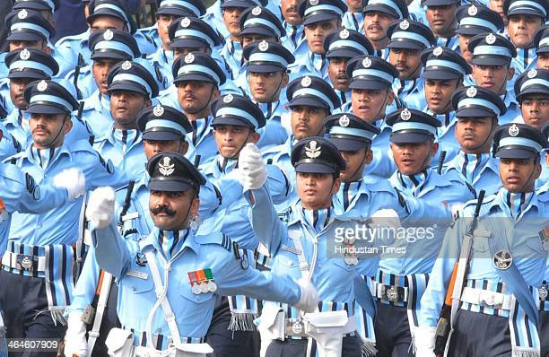 Indian Air Force Contingent passing through the saluting base during the full dress rehearsal for Republic Day Parade at Rajpath on January 23 2014...