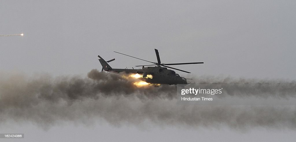 Indian Air Force (IAF) helicopter during the exercise Iron Fist -2013 at firing range in Pokhran on February 22, 2013 in Jaisalmer, India.