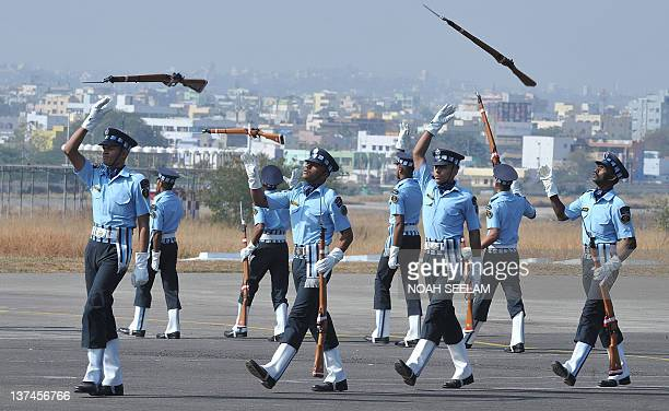 Indian Air Force personnel perform the A