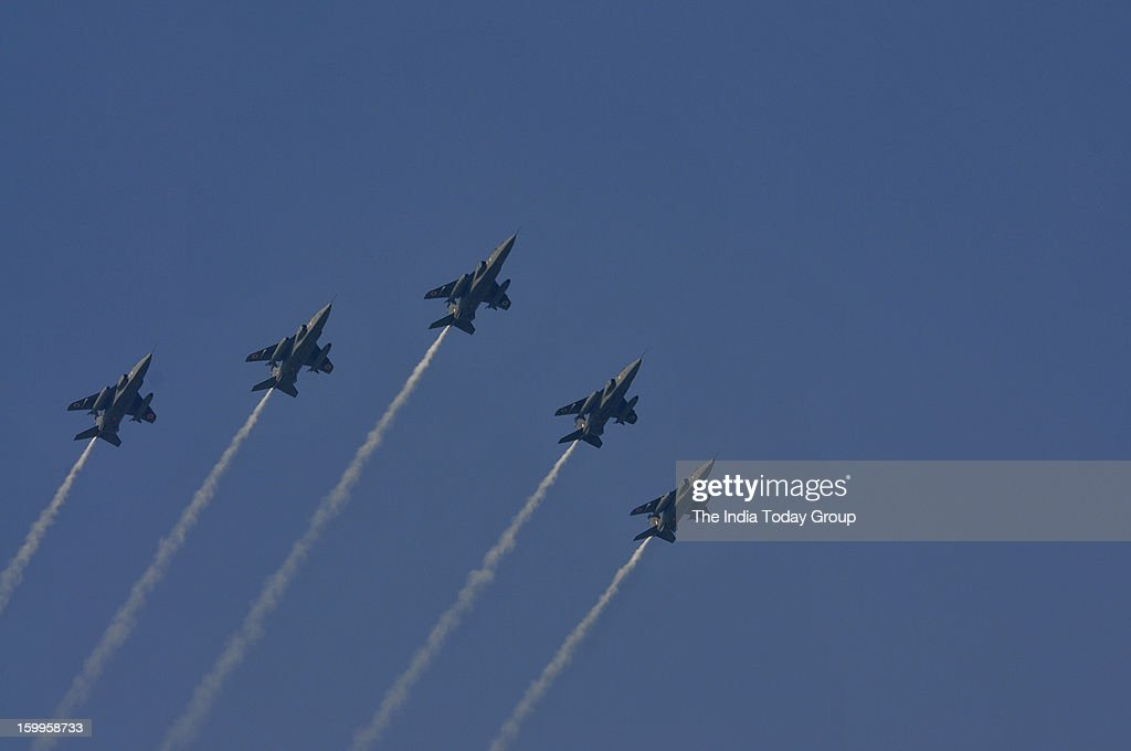 Indian Air Force pilots flew their Jaguar fighter planes in formation over Rajpath during the 63rd Republic Day parade in New Delhi on Wednesday, January 23, 2013.