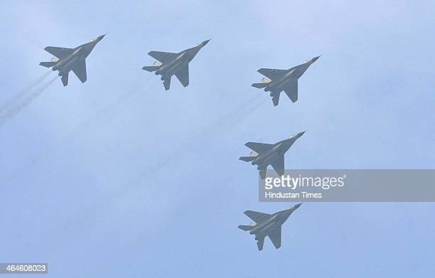 Indian Air Force SU 30 aircrafts fly over the saluting base during the full dress rehearsal for Republic Day Parade at Rajpath on January 23 2014 in...