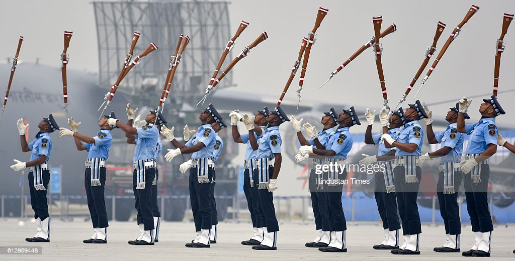 Indian Air Force's 'Air Warrior' drill team perform during the 84th anniversary of Air Force Day parade rehearsals at the Air Force Station Hindon on...
