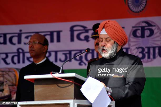 Indian Ambassador to Nepal Manjeev Singh Puri delivers his Independence Day speech at the Embassy premises during celebration of India's 71st...