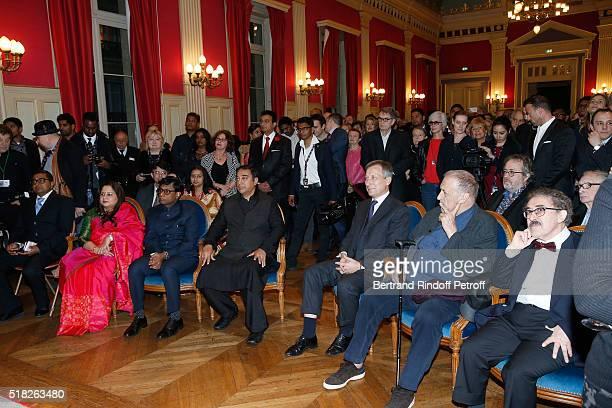 Indian Ambassador to Paris Mohan Kumar with his wife Mala Kumar Laureate of the Price Henri Langlois Indian actor and director Kamal Haasan Belgium...