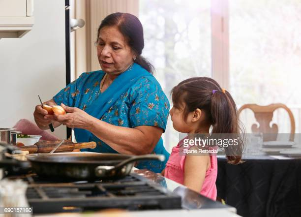 Indian American Family cooking