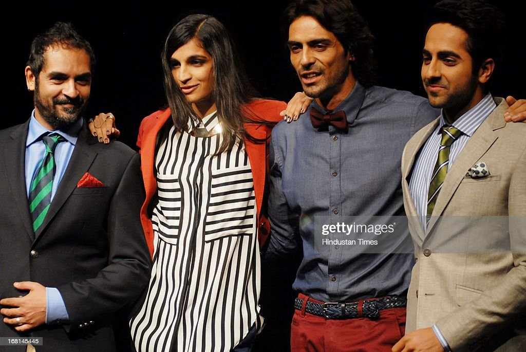 Indian American musician Karsh Kale, Bollywood singer Anushka Manchanda, actor Arjun Rampal and Ayushmann Khurrana walk the ramp during the Blackberrys Sharp Night Fashion Show at Mehboob studio, Bandra on May 3, 2013 in Mumbai, India. The Blackberrys Sharp Night is a fashion show organised by Blackberrys to showcase their new Summer/Spring collection.