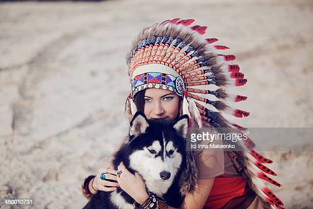 Indian and a wolf