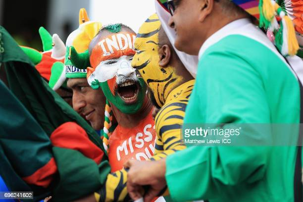 Indian and Bangladesh fan show their support during the ICC Champions Trophy Semi Final match between Bangladesh and India at Edgbaston on June 15...
