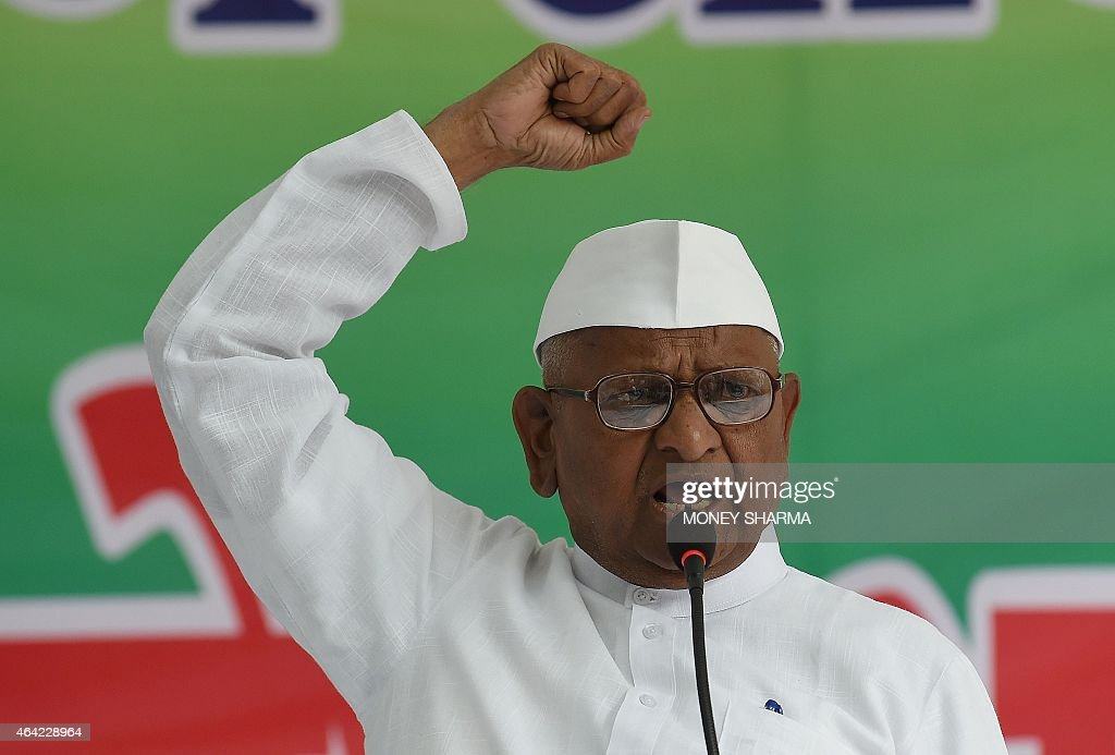 Indian anti-corruption activist <a gi-track='captionPersonalityLinkClicked' href=/galleries/search?phrase=Anna+Hazare&family=editorial&specificpeople=5963003 ng-click='$event.stopPropagation()'>Anna Hazare</a> shouts slogans during a protest against a land acquisition bill in New Delhi on February 23, 2015. Indian activist <a gi-track='captionPersonalityLinkClicked' href=/galleries/search?phrase=Anna+Hazare&family=editorial&specificpeople=5963003 ng-click='$event.stopPropagation()'>Anna Hazare</a> has launched a two-day protest against a controversial land acquisition ordinance, accusing the Narendra Modi-led government of antipathy towards farmers.