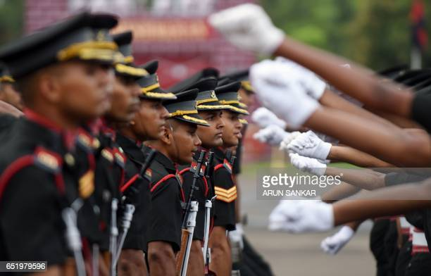 Indian army cadets celebrate after their graduation ceremony at the Officers Training Academy in Chennai on March 11 2017 A total of 238 cadets...