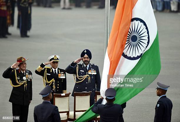 Indian Army Chief Bipin Rawat Navy Chief Sunil Lanba and Air Force Chief Birender Singh Dhanoa during the Beating Retreat ceremony at Vijay Chowk on...
