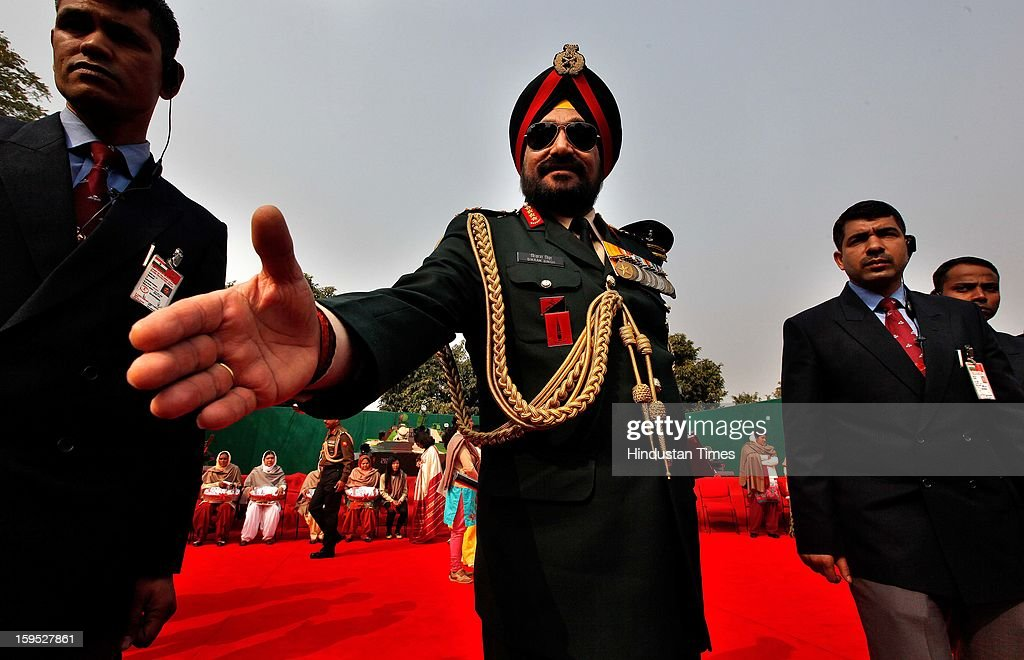 Indian Army Chief Gen Bikram Singh during the Army Day parade At Delhi cant on January 15, 2013 in New Delhi, India. The 65th anniversary of the formation of the Indian national army was celebrated with soldiers from various regiments and artillery units taking part in a parade.