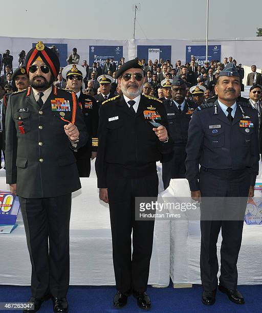 Indian Army Chief General Bikram Singh Navy Chief Admiral DK Joshi Air Chief Marshal Arup Raha during DefExpo 2014 which was inaugurated by Defense...