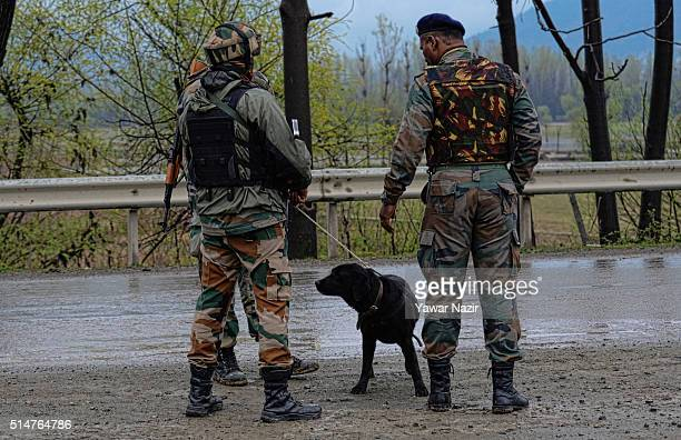 Indian Army officers stand with their sniffer dog near the site of an Improvised Explosive Device before it is neutralised on March 11 2016 in...