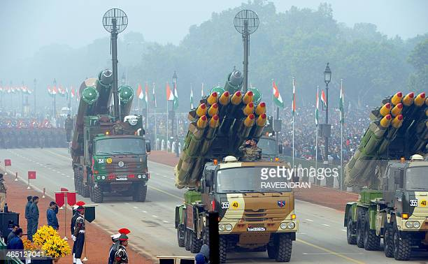 Indian Army rocket and missile launch systems are displayed during the Republic Day parade in New Delhi on January 26 2014 India celebrated its 65th...