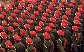 Indian Army Sikh regiment soldiers march in formation down Rajpath during the full Republic Day Dress rehearsal in New Delhi on January 23 2015 India...
