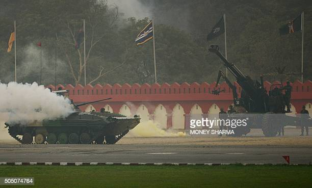 Indian Army soldiers demonstrate combat skills during the Army Day parade in New Delhi on January 15 2016 The Indian army celebrated the 67th...