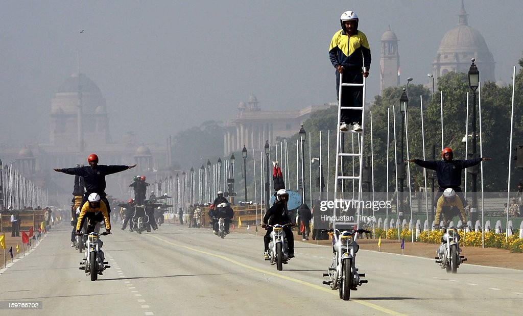 Indian Army soldiers display their skills on the motorcycle during rehearsal for the Republic Day parade 2013 on January 20, 2013 in New Delhi, India. India will celebrate its annual Republic Day on January 26.