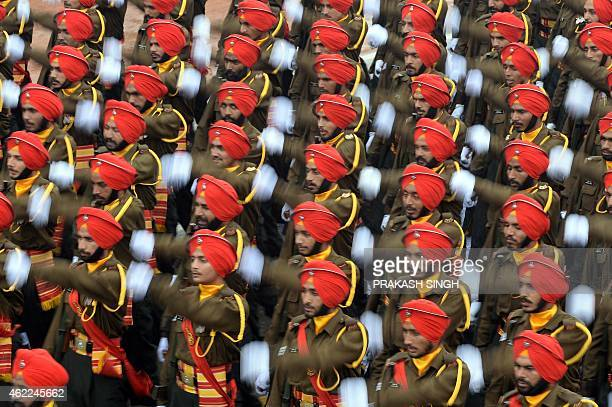Indian Army soldiers march in formation down the ceremonial boulevard Rajpath during the Indian Republic Day parade in New Delhi on January 26 2015...