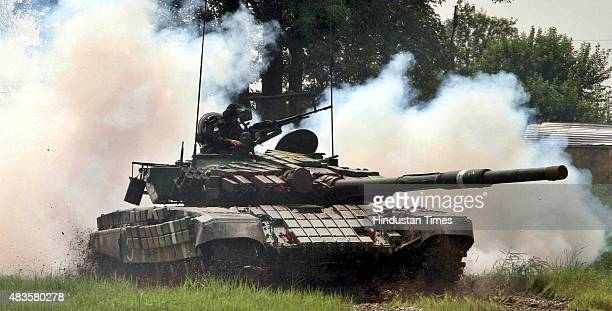 Indian Army tank perform drill during an event to mark the victory of 1965 IndoPak war on August 10 2015 in Jammu India To mark the 50th anniversary...