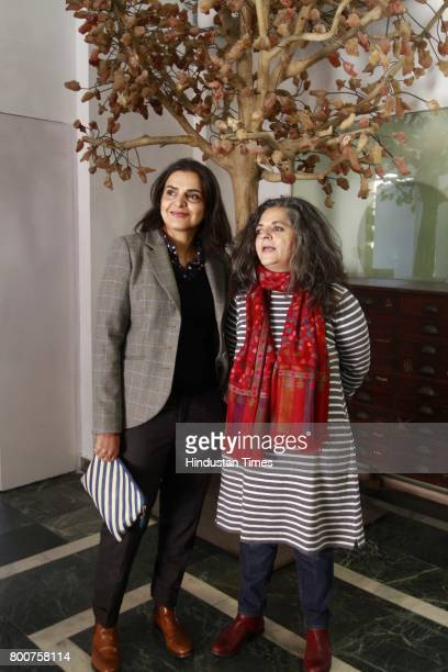 Indian artists Bharti Kher and Dayanita Singh during an exclusive interview with Hindustan Times at Bharti Kher's studio in Udyog Vihar Phase1...