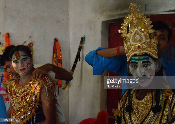 Indian artists dress up brfore traditional Ramleelaa play narrating the life of Hindu God Ramon ocassion of Dussehra festivalin Hanumanganj village24...