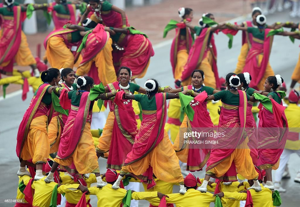 Indian artists perform during the Indian Republic Day parade in New Delhi on January 26 2015 Rain failed to dampen spirits at India's Republic Day...