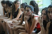 Indian aspiring models wait to walk the ramp during auditions for women models for the forthcoming Lakme Fashion Week in Bangalore on February 27...