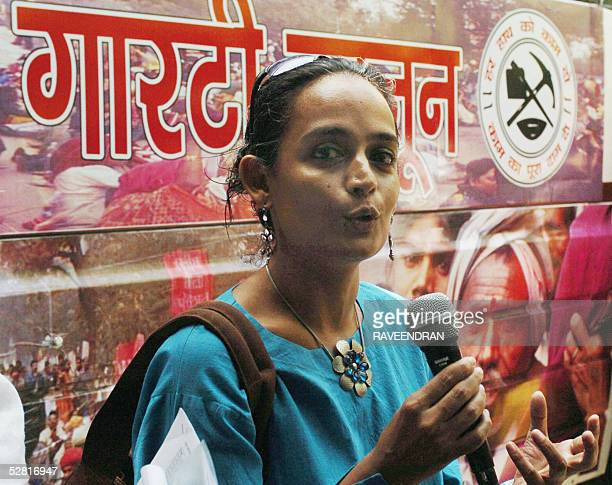 Indian author and social activist Arundhati Roy addresses an audience at the launch of the 'Rozgar Adhikar Yatra' People's Action for Employment...