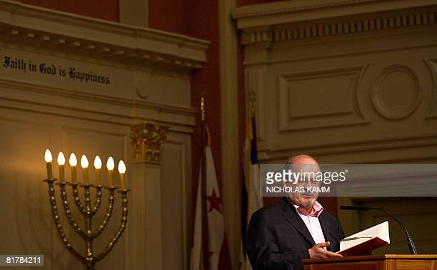 Indian author Salman Rushdie reads from his latest novel 'The Enchantress of Florence' at the I Street Synagogue in Washington on June 30 2008 AFP...