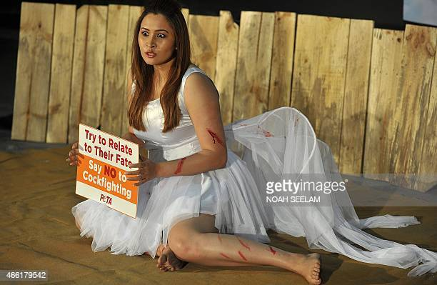 Indian badminton player Jwala Gutta enacts an injured rooster lying in a pool of blood inside a cockfighting ring as she holds a placard for People...