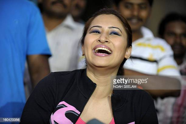 Indian badminton player Jwala Gutta faces the press after participating in a film shoot at Sarathi Studios in Hyderabad on January 31 2013 Jwala...