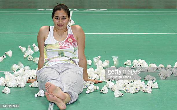 Indian Badminton player Jwala Gutta poses during the practice session at Teh Gopalchand Badminton Academy on July 28 2011 in Hyderabad India