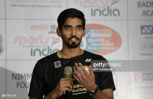 Indian badminton player Kidambi Srikanth speaks during a press conference in Hyderabad on June 27 2017 Badminton world no 11 Kidambi Srikanth won the...