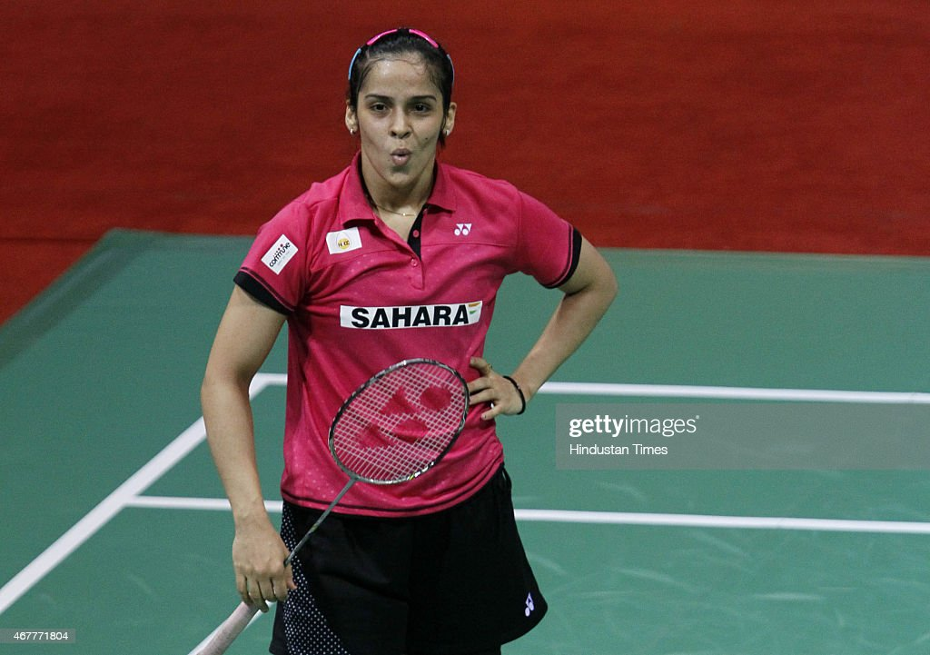 Indian badminton player <a gi-track='captionPersonalityLinkClicked' href=/galleries/search?phrase=Saina+Nehwal&family=editorial&specificpeople=729912 ng-click='$event.stopPropagation()'>Saina Nehwal</a> in action against Indonesian badminton player Hana Ramadhini during the Yonex Sunrise India Open Badminton Championship at Siri Fort Sports Complex on March 27, 2015 in New Delhi, India.