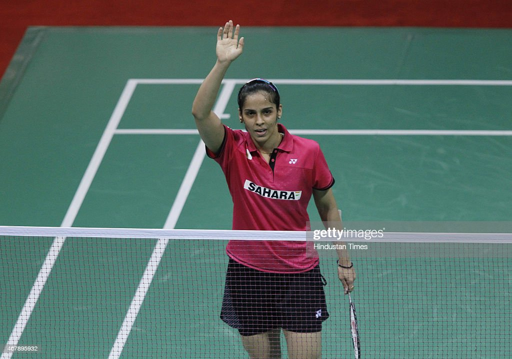 Indian badminton player <a gi-track='captionPersonalityLinkClicked' href=/galleries/search?phrase=Saina+Nehwal&family=editorial&specificpeople=729912 ng-click='$event.stopPropagation()'>Saina Nehwal</a> in action against Yui Hashimoto, badminton player from Japan during the Yonex Sunrise India Open Badminton Championship at Siri Fort Sports Complex on March 28, 2015 in New Delhi, India. <a gi-track='captionPersonalityLinkClicked' href=/galleries/search?phrase=Saina+Nehwal&family=editorial&specificpeople=729912 ng-click='$event.stopPropagation()'>Saina Nehwal</a> scripted history by becoming the first Indian woman shuttler to attain the number one spot in world rankings, reaffirming her status as the country's most consistent performer in the international circuit.