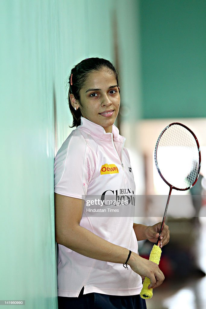Indian Badminton player <a gi-track='captionPersonalityLinkClicked' href=/galleries/search?phrase=Saina+Nehwal&family=editorial&specificpeople=729912 ng-click='$event.stopPropagation()'>Saina Nehwal</a> poses during the practice session at Teh Gopalchand Badminton Academy on July 28, 2011 in Hyderabad, India.