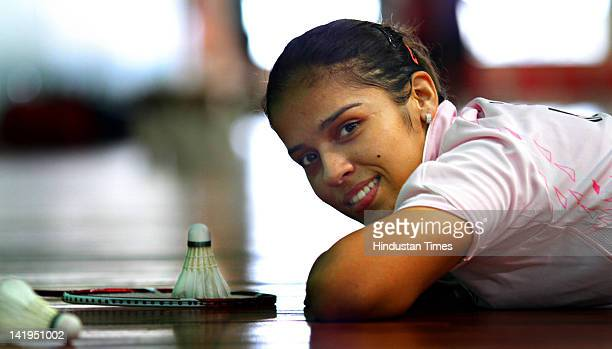Indian Badminton player Saina Nehwal poses during the practice session at Teh Gopalchand Badminton Academy on July 28 2011 in Hyderabad India