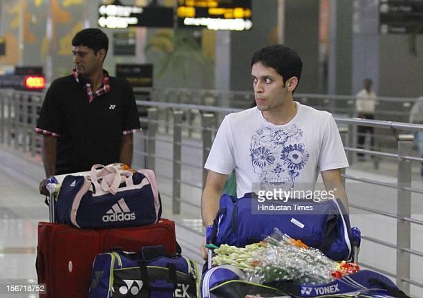 'NEW DELHI INDIA JULY 23 Indian Badminton team members arrives at T3 terminalin New Delhi India on Monday 2012 Indian Badminton contingent will take...