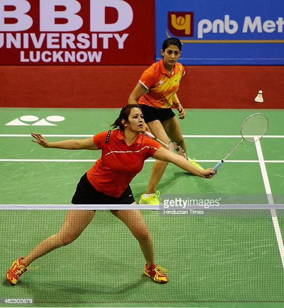 Indian Badminton women doubles pair Jwala Gutta and Ashwani Ponnappa in action against Chinese pair Tian and ZhaoYuniei during India Open Badminton...