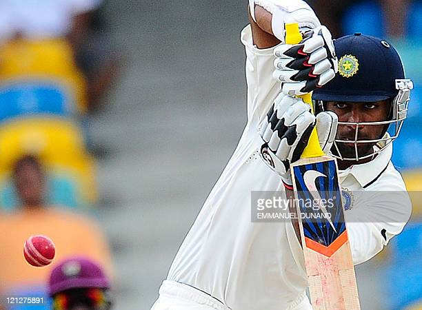 Indian batsman Abhinav Mukund plays a shot during the third day of the second test match between West Indies and India at the Kensington Oval in...