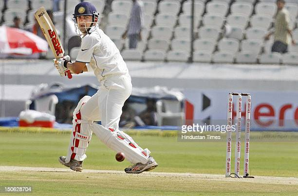 Indian batsman Gautam Gambhir in action during a first Test Match between India vs New Zealand at Rajiv Gandhi International Cricket Stadium on...