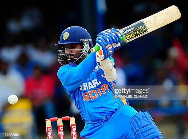 Indian batsman Harbhajan Singh plays a shot during West Indies against India Twenty20 match at the Queen's Park Oval in Port of Spain June 4 2011 AFP...