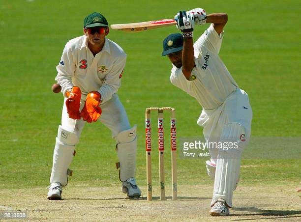 Indian batsman Rahul Dravid drives Stuart Macgill in the 2nd Test between Australia and India at the Adelaide Oval on December 16 2003 in Adelaide...
