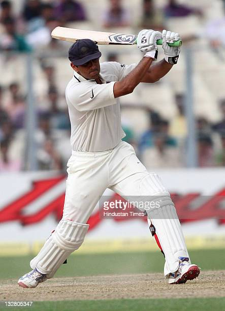 Indian batsman Rahul Dravid drives the ball during the first day of second Test match between India and West Indies at Eden Gardens stadium on...